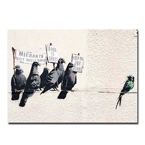 Box Prints Banksy Einwanderung Vögel Poster Kunstdruck gerahmt schwarz weißes Bild klein groß