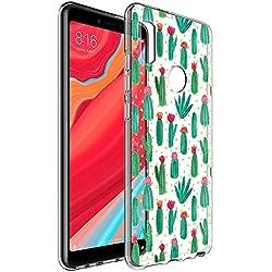 Funda Xiaomi Redmi S2, Eouine Cárcasa Silicona 3D Transparente con Dibujos Diseño Suave Gel TPU [Antigolpes] de Protector Bumper Case Cover Fundas para Movil Xiaomi Redmi S2 (Cactus)