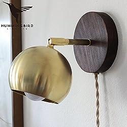 Self-My Lampada Da Parete Il Nordic Giapponese Di Legno In Ottone Retrò Camera Da Letto Letto Corridoio Di Transito, Rame Naturale + Cappa Di Legno