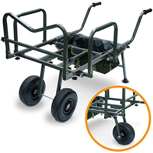 g8ds® XXL Angel Trolley Karpfen Transportwagen Transportkarre Barrow Tacklekarre Karpfen Rod Pod für 3 Ruten