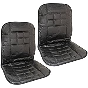 hardcastle genuine leather car front seat cushion cover back support massage pair. Black Bedroom Furniture Sets. Home Design Ideas