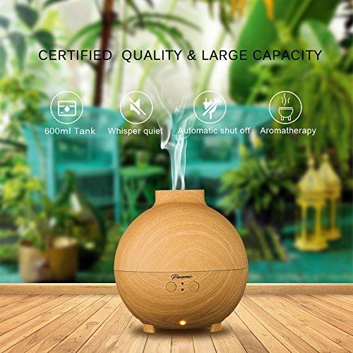 Paxamo 600ml Aromatherapy Essential Oil Diffuser Large Wood Grain Ultrasonic Cool Mist