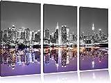 schöne Manhattan Skyline Spiegelung schwarz/weiß auf 3-Teiler Leinwandbild 120x80 Bild auf Leinwand, XXL riesige Bilder fertig gerahmt mit Keilrahmen, Kunstdruck auf Wandbild mit Rahmen, gänstiger als Gemälde oder Ölbild, kein Poster oder Plakat