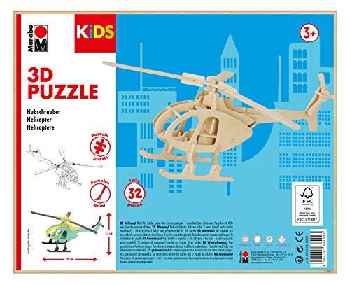 Marabu 0317000000003 Kids 3D Holzpuzzle Hubschrauber, 32 Teile, Circa 26 x 13 cm, Braun
