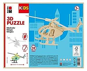 Marabu 0317000000003 Kids 3D - Puzzle de Madera (32 Piezas), diseño de helicóptero 26 x 13 cm, Color marrón
