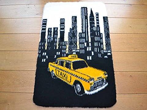 Yellow Taxi Non Slip Machine Washable Sheepskin Style Kids Rug. Size 70cm x 100cm