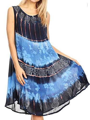 Sakkas 18156 - Daniella Fließendes Tie-Dye-Shirt für Damen aus Kaftan-Trägerkleid - Sleeveless - Navy Blue - OS Damen Navy Blue Shift