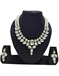 Apsara Art Jewellery Gold Plated Stylish White Stone Studded Diamond And White Pearl Necklace Set/Choker Set For...