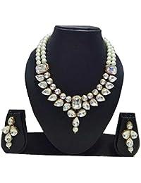 Apsara Art Jewellery Gold Plated Stylish White Stone Studded Diamond And White Pearl Necklace Set/Choker Set For...