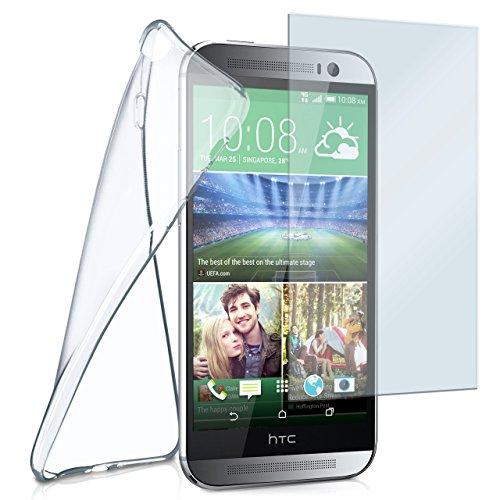 moex Silikon-Hülle für HTC One M8 | + Panzerglas Set [360 Grad] Glas Schutz-Folie mit Back-Cover Transparent Handy-Hülle HTC One M8/M8s Case Slim Schutzhülle Panzerfolie