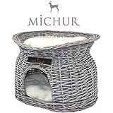 MICHUR RICHY, Katzenhöhle, Hundehöhle, Katzenkorb, Hundekorb, WEIDE, RATTAN, NATUR, ca. 55x39x43cm (Liegefläche ca. 40x28cm)