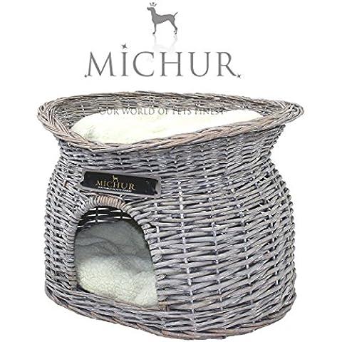 MICHUR RICHY, Cama del perro, cama del gato, cesta del gato, cesta del perro, sauce, cueva, mimbre, gris