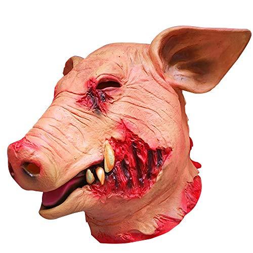 Beautyrain Halloween Horror Silikon DIY Maskerade Requisiten Schweinekopf Horror Blutige Maske Spielt Gesichtsmasken (Blutige Maske Maskerade)