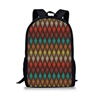 School Bags Geometric,Tribal Primitive Abstract Folk Dots Forming Diamond Forms Ethnic Artsy Pattern,Multicolor for Boys&Girls Mens Sport Daypack