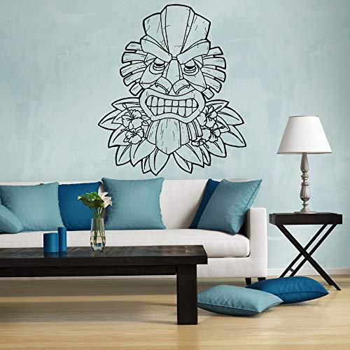 Shentop Muster Tiki Hawaii Wand Vinyl Aufkleber Aufkleber Sofa Hintergrund Dekor Maske Totem Entfernbare Wandaufkleber Dekoration 56 * 89 cm