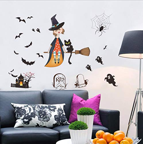 ndaufkleber für Wohnzimmer Schlafzimmer Halloween Party Decor bat Geist wandbilder Vinyl wasserdicht DIY Kunst Aufkleber ()