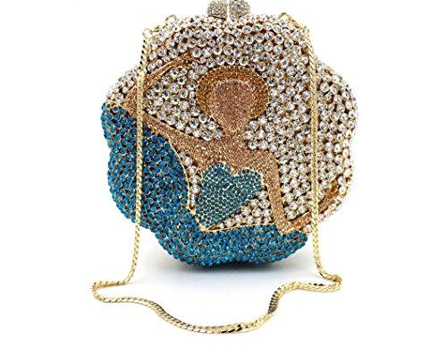 Abendtasche Paket europäischen und amerikanischen Stil Kristall voller Diamantbohrer Tasche Porträt Umhängetasche einfarbig color 1
