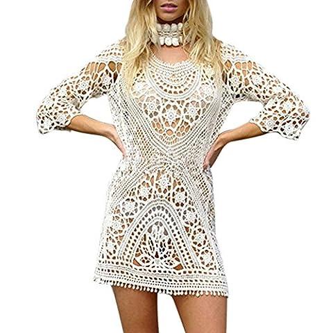 Long White Halter Dress - Balai Femmes Dos nu Robe de plage