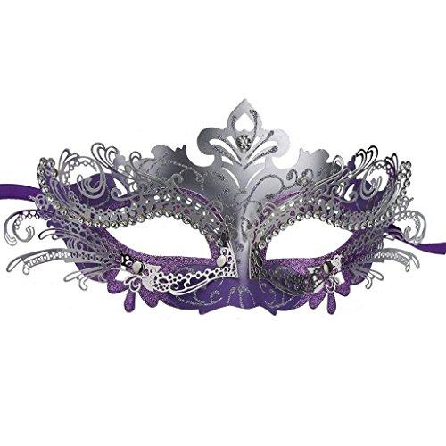 Superw Unisex Mardi Gras Kostüm Venezianischen Schnitt Maskerade Maske Erwachsene Half Face Sexy Maske (Farbe : Purple)
