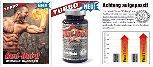 Goldfield - Turbo Red Devil | Muskelaufbau Muskelblaster - Muskel Trainings-Booster 60 Kapseln mit Maca , Tribulus , Guarana , L-Arginin