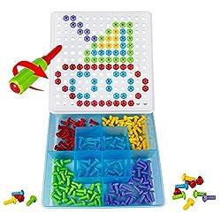 Mosaik Steckspiel Spielzeug Bausteine Kunststoff DIY Spiele Intelligent mit Werkzeug und Schrauben für Kinder ab 3 Jahre Alt