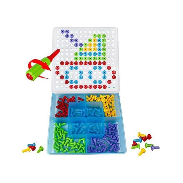 5789b44742047 Jeu de Construction Pegboard Puzzle Jeu Vis Ecrou Plastique Jouet Mosaïque  Pour Enfant Garçon Fille ...