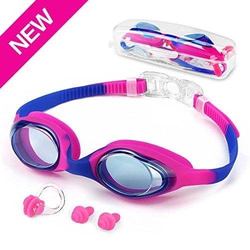 Motenik Schwimmen Brillen, Kids Schwimmbrille Anti Fog UV Schutzbrille No Leaking mit Verstellbarem Silikon Armband und Gratis Schutzhülle für 5-14 Jahre (Rose Rot)