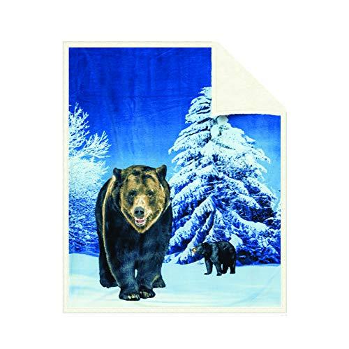 Echt Winter Wolf Plüsch revesible Fleece Decke Überwurf, Fleece, Winter Bear, 50*60