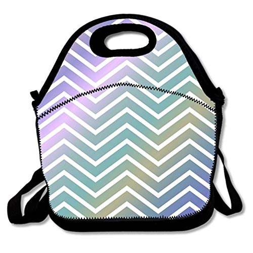 flys Insulated Neoprene Lunch Bag - Removable Shoulder Strap - Reusable Thermal Thick Lunch Tote/Lunch Box/Cooler Bag for Women,Teens,Girls,Kids,Baby,Adults, Gradient Chevron Stripes,12M