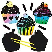 Baker Ross Cupcakes aimantés à gratter (Paquet de 10) - Loisirs créatifs pour enfants et adultes