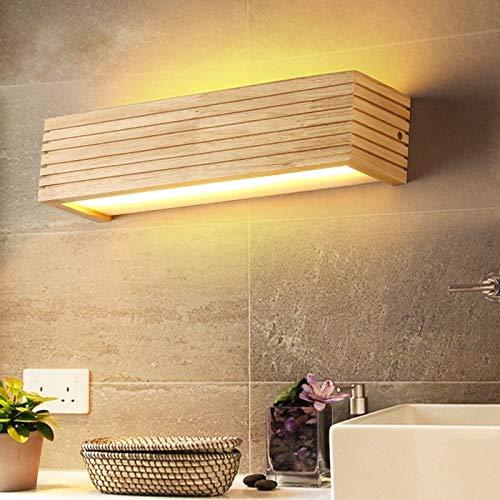 DX Moderne Holz Wandleuchten Badezimmerspiegelleuchte Flur Wandlamp Bettleuchte nordic home beleuchtung wandleuchte vintage wandleuchte, 35x9x8 cm 6 watt, warmweiß (2700-3500K) -