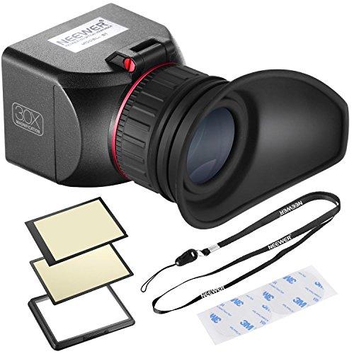 Neewer NW-S1 3X optische Vergrößerung Faltbarer Sucher mit 3 starken Klebebändern für Canon 5DII 7D 6D D300S D700 D90 5DII 7D 6D 50D 40D D700 D300S D3 D800 D610 Kamera mit 3 Zoll Bildschirm