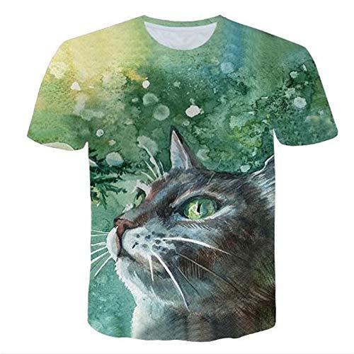 Sommert-shirtMännersommer-beiläufige Tarnungs-Druck-mit Kapuze ärmelloses T-Shirt Spitzenweste,Green Leaf Cat Grün XL -