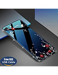 Aireratze iPhone 6S Plus case,iPhone 6 Plus cover, [Crystal Series] [Tempered Glass Back] Soft Gel TPU [Glitter Bling Diamond] Slim Back Bumper Anti-Fingerprint 360-Full-Protection Case USB cable
