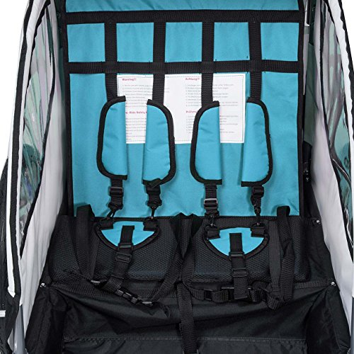 SAMAX Fahrradanhänger Jogger 2in1 360° drehbar Kinderanhänger Kinderfahrradanhänger Transportwagen vollgefederte Hinterachse für 2 Kinder in Blau - Silver Frame - 6