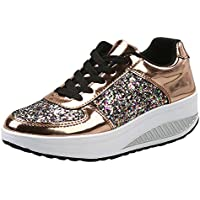 。◕‿◕。 Meilleure Vente! LuckyGirls Unisexe Hommes Femmes Athlétiques Running Sneakers Fitness Courir en Plein Air Casual Sneakers Plat Shoes PU Rubber 5CM