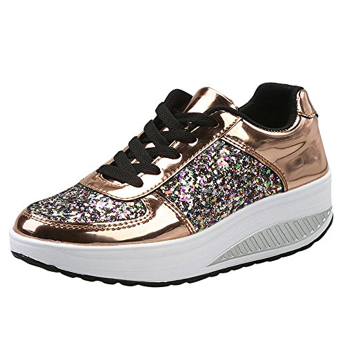 Dorical Damen Sneakers Wedges Keilabsatz 4.5 cm Farbe Pailletten Sportschuhe Atmungsaktive Laufschuhe Outdoor Freizeitschuhe Turnschuhe Übergrößen Flandell Gr 35-41(Gold,36 EU)