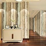 Papel de pared de fondo de papel pintado no tejido Mediterráneo Oriental rayas verticales living comedor dormitorio TV americana retro imitación madera del grano , retro yellow 69203