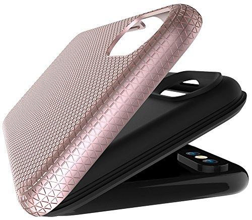 """Coque Iphone X Edition, Iphone X Case, Iphone X Coque, Iphone X Protection, Coque Iphone 10 euros, Nnopbeclik® """"3D Texture Motif Style"""" 2in1 Conception Rigide/Hard/Incassable Case Premium PC+TPU Slim  roseor"""