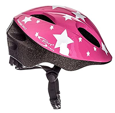 Sport Direct™ White Stars Children's Girls Bicycle Helmet Pink 48-52cm CE EN1078:2012+A1:2012 from Sport Direct