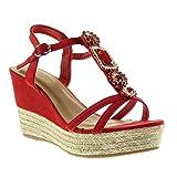 Angkorly - damen Schuhe Sandalen Espadrilles - T-Spange - Plateauschuhe - Schmuck - String Tanga - Seil Keilabsatz high heel 9.5 CM - Rot L5008 T 36