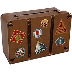 Santex 4856-25 - Hucha, 24x 16x 10cm, diseño con forma de maleta de viaje, cartón