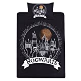 Harry Potter Hogwarts 2-tlg. Wende-Bettwäsche-Set für Einzelbett Single Schwarz