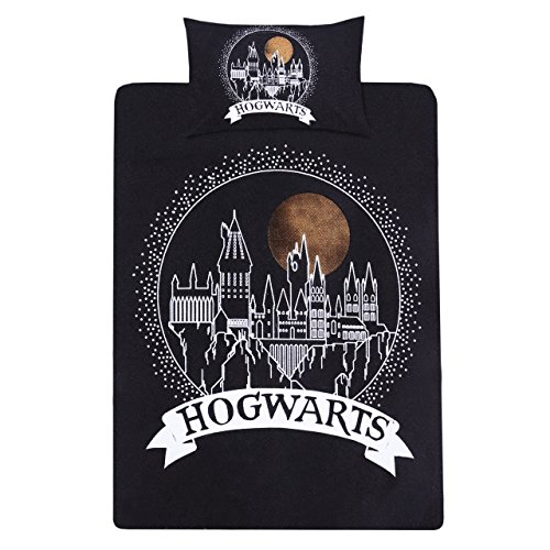 Negro Individual Reversible Funda de edredón de juego de + funda de almohada juego de cama Harry Potter