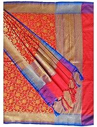 Kashiya Red Banarasi Silk Dupatta With Blue Border And Floral Jaal Pattern Zari Embroidery