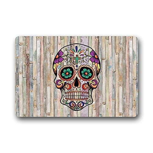 Our Iris Non-Slip Entryways Sugar Skull Wood Pattern Picture Rectangle Indoor/Outdoor Rectangle Floor Mat Fußabtreter -Thickness 23.6(L) x 15.7(W) (Skulls Männlich Sugar)