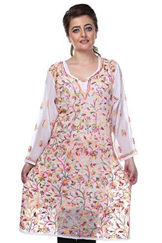 ADA Designer Handmade Lucknowi Chikan Regular Wear Faux Georgette Kurti A90335