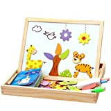 NUOLUX Writing Board Wooden Magnetic Jigsaw Puzzles Toddler Toys Travel Puzzle Double Sided