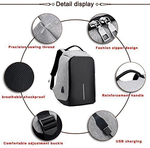 Best anti theft backpack in India 2020 Krishyam Anti Theft Waterproof Business Travel Laptop Bag with USB Cable and Built in Charging Port for College and Office Work Image 5