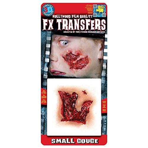 (Rasta Imposta Offene Fleischwunde 3D Klebe-Tattoo Halloween Haut-rot 12,7x11,4cm Einheitsgröße)